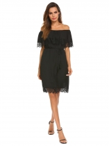 Black Women Ruffles Off Shoulder Lace Patchwork Loose Mini Dress With Lining