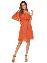 Orange Women Ruffles Off Shoulder Lace Patchwork Loose Mini Dress With Lining