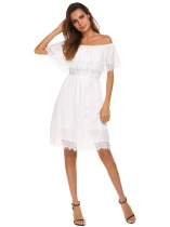 White Women Ruffles Off Shoulder Lace Patchwork Loose Mini Dress With Lining
