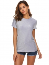 Silver Women Fashion O-Neck Short Sleeve Glitter Casual T-Shirt Top
