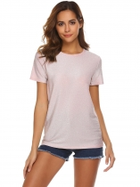 Pink Women Fashion O-Neck Short Sleeve Glitter Casual T-Shirt Top