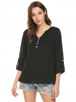 Black Women Casual Notch Neck Long Sleeve Solid Blouse Top