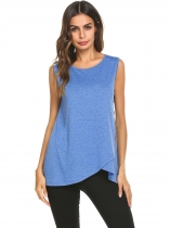 Blue Women Faux Wrap Asymmetric Hem Sleeveless T-Shirts Tank Tunic Tops