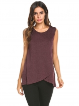 Wine red Women Faux Wrap Asymmetric Hem Sleeveless T-Shirts Tank Tunic Tops