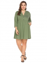 Green Women Notch Neck 3/4 Sleeve Casual Pleated Shirt Dress w/ Pocket Plus