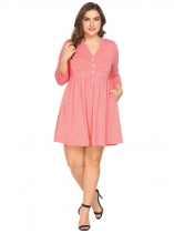 Pink Women Notch Neck 3/4 Sleeve Casual Pleated Shirt Dress w/ Pocket Plus