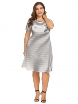 White Women O-Neck Short Sleeve Striped Casual Slim Fit T-Shirt Dress Plus