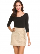 Women High Waist Criss Cross Faux Suede Club Cocktail Mini Sheath Skirt