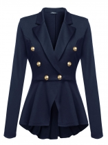 Dark blue Women Lapel Long Sleeve Double-breasted Slim Fit Casual Peplum Blazer