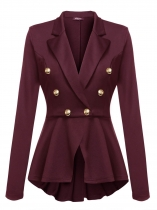 Wine red Women Lapel Long Sleeve Double-breasted Slim Fit Casual Peplum Blazer