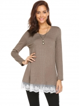 Khaki Women Casual V-Neck Long Sleeve Lace Patchwork Tunic Tops