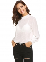 White Women Casual Solid Long Sleeves Slim Fit See-Through Mesh Tops