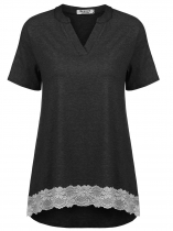 Black Women V-Neck Short Sleeve Lace Patchwork High Low Shirt Blouse Tunic Tops