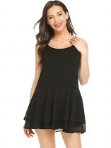 Black Women Sleeveless Tops Chiffon Ruffle Hem Adjustable Straps Tank