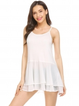 White Women Sleeveless Tops Chiffon Ruffle Hem Adjustable Straps Tank