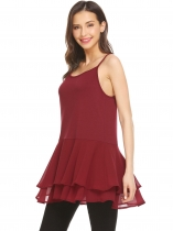 Wine red Women Sleeveless Tops Chiffon Ruffle Hem Adjustable Straps Tank