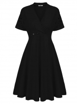 Noir Femmes Faux Wrap V Neck évider manches courtes Empire Line Casual Party Dress