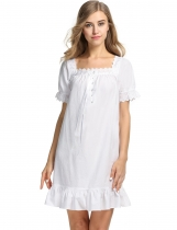 Avidlove Women Short Sleeve Nightgown Shift Pure Color Sleepwear Nightwear