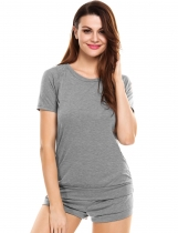 Gray Casual Loose 2 Pieces O Neck Short Sleeve Tops and Shorts Sleepwear Pajama Set