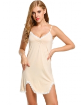Apricot Womens Sleeveless Solid V Neck Nightgown Sleepwear Split Hem Lace Dress Shapewear & Pajamas