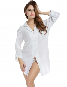 4337d36681 Womens Long Sleeve Sexy Turn Down Collar Solid Loose Sleep Shirt