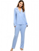 Blue Womens Long Sleeve Solid Pullover Sleepwear Contrast Color Turn Down Collar Nightwear Set Shapewear & Pajamas