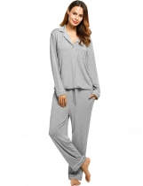 Gray Womens Long Sleeve Solid Pullover Sleepwear Contrast Color Turn Down Collar Nightwear Set Shapewear & Pajamas