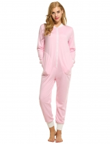 Womens Long Sleeve Solid V Neck Nightwear Pajamas