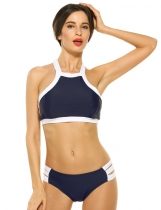 Dark blue Halter Contrast Trim Ladder Cut Out Swimwear Swimsuit