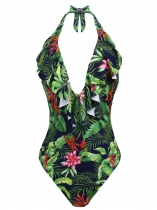 Green Women Halter Ruffles Decoration Print/ Solid Backless One Piece Swimsuit