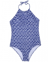 Blue Halter Padded Backless Printed One Piece Swimwear