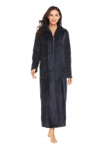 Dark blue Women Turtleneck Soft Warm Full Zip Robe