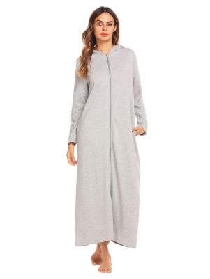 Gray Women Long Sleeve Zip-front Hooded Sleepwear Robe 993cc1cb9