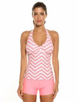 Orange Women Halter Padded Striped Solid Boyshort Tankini Set Swimsuit Swimwear
