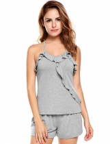 Grey Sleeveless Solid Ruffles Collar Cross Back Nightwear