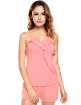 Pink Sleeveless Solid Ruffles Collar Cross Back Nightwear