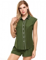 Dark green Slim Contrast Trim Turn Down Collar Pajamas Set