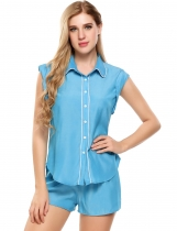 Sky blue Slim Contrast Trim Turn Down Collar Pajamas Set