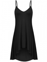Black Solid V Neck Nightgown Spaghetti Straps Sleepwear Asymmetrical Hem Mini Sexy Dress