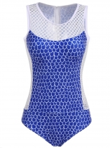Dark blue Hollow Out Padded High Cut One Piece Swimsuit