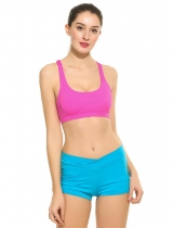 Women Padded Strappy Crisscross Hollow Out Back Sports Bra Top