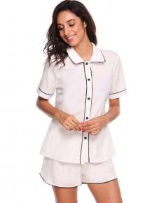 63d24e2f27 Weiß Womens Kurzarm Solid Slim Nachtwäsche Kontrast Farbe Button Down  Pyjamas Set