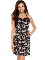 Black Spaghetti Straps Backless Floral Lace Patchwork Sleepwear Dress