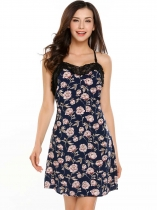 Blue Spaghetti Straps Backless Floral Lace Patchwork Sleepwear Dress