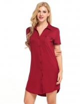 Wine red Short Sleeve Button Down Sleepshirt Dress Sleepwear