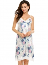 Spaghetti Strap Print Satin Lace Patchwork Nightgown