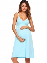 Light blue Pajamas Lace Patchwork Empire Waist Nursing Cami Nightgown Sleepwear Dress