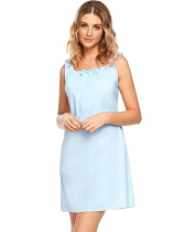 Light blue Sleeveless Solid Square-neck Tranquil Dreams Pajamas
