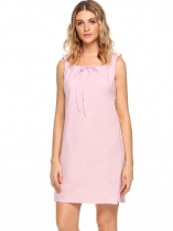 Pastel pink Sleeveless Solid Square-neck Tranquil Dreams Pajamas