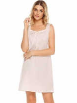 White Sleeveless Solid Square-neck Tranquil Dreams Pajamas